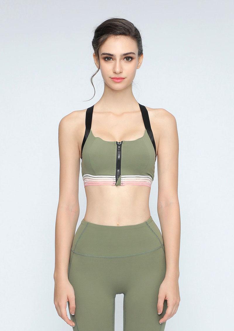 前胸拉鍊漸層條紋運動套裝-綠
