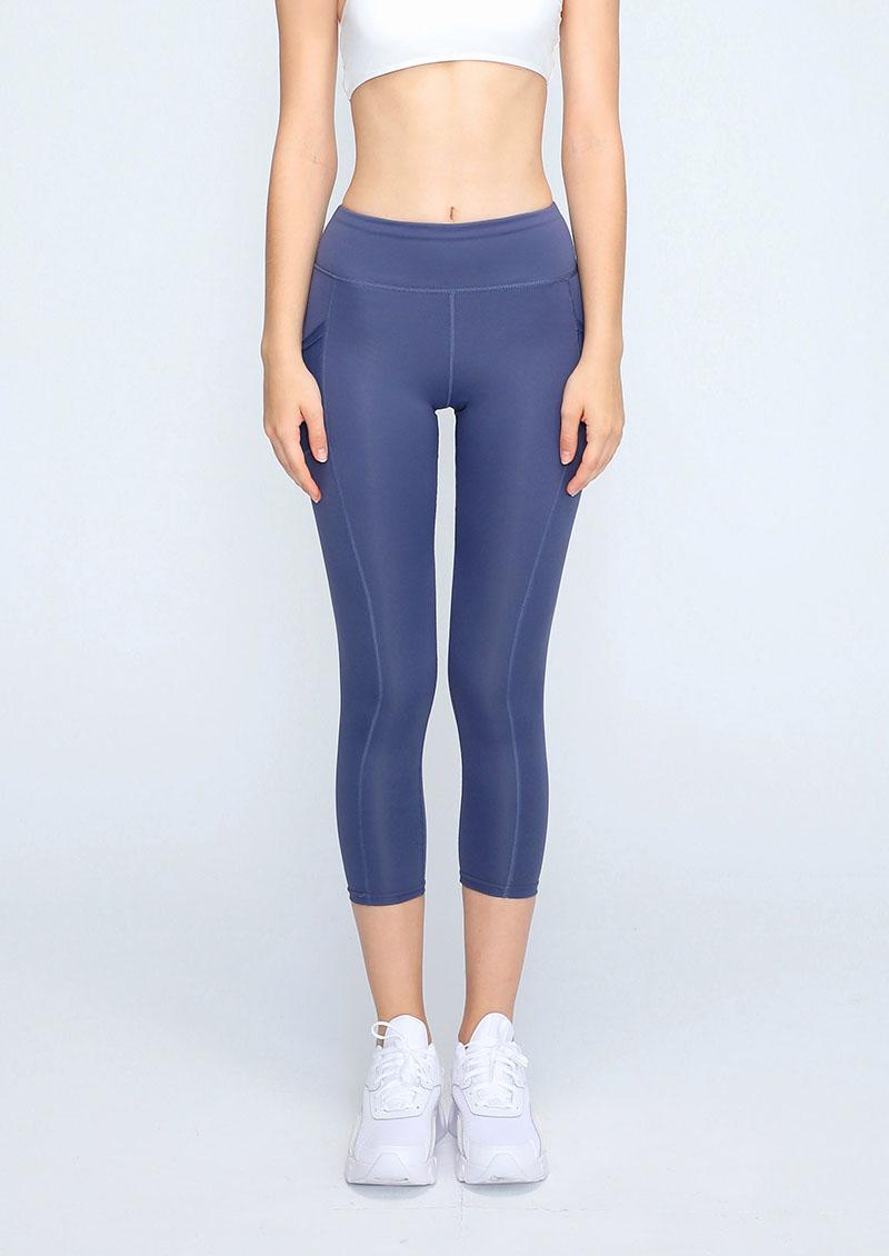 高腰收腹提臀口袋彈力緊身運動褲-深藍