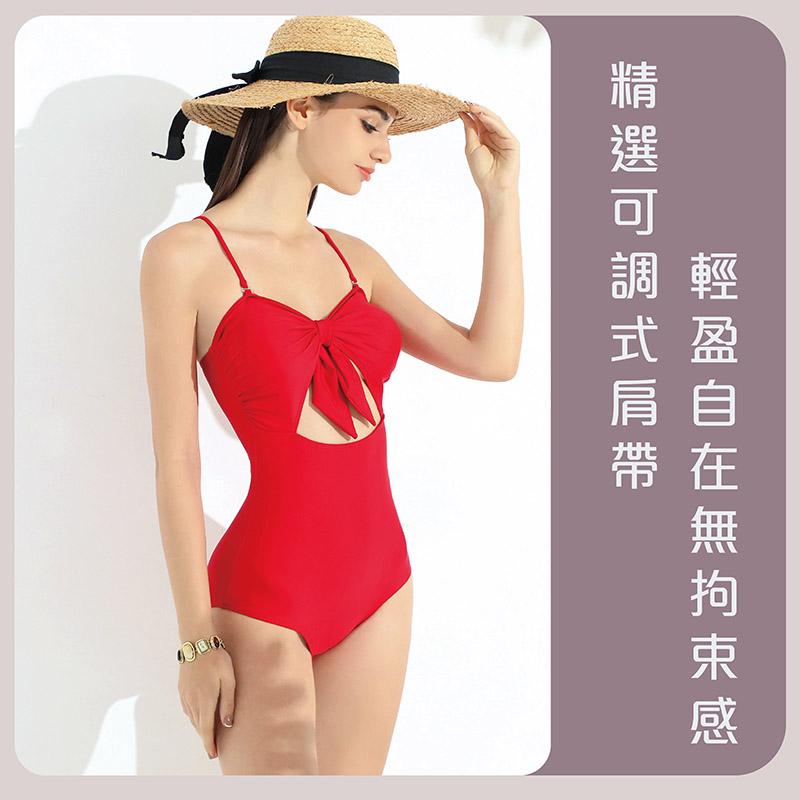 Sdare 挖空綁帶可拆式肩帶連身泳裝-紅
