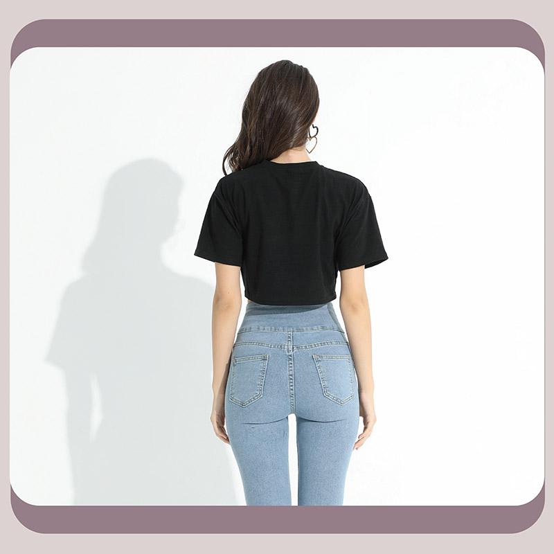 Sdare 寬鬆舒適腰部交叉抓皺五分袖上衣 2色