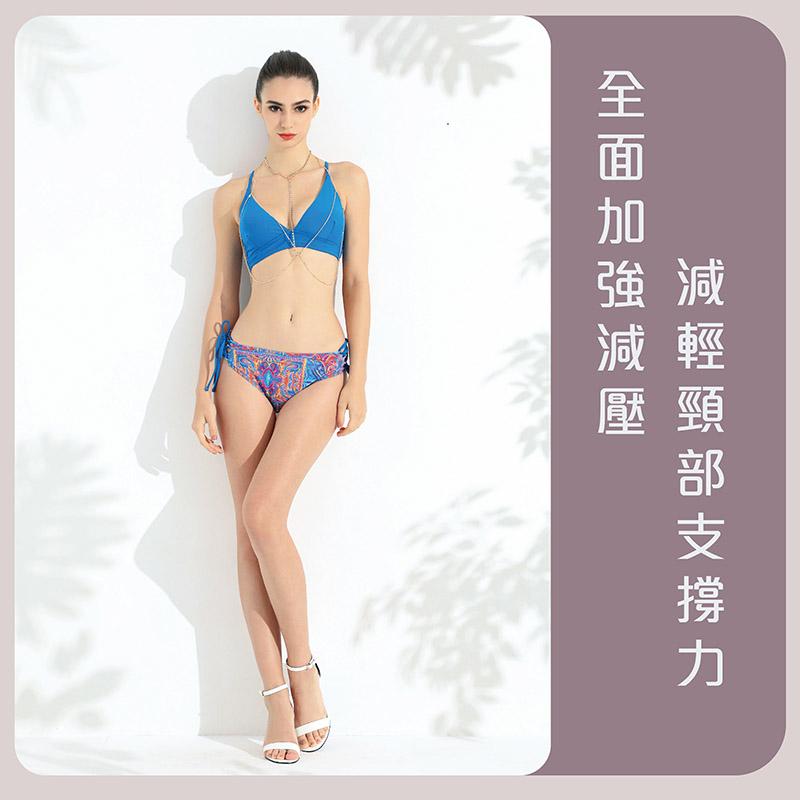 Sdare 情定盛夏交叉美背比基尼-藍