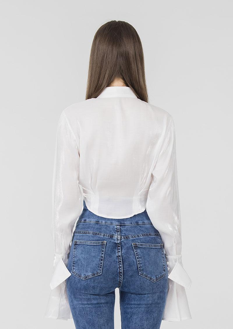 S'dare 珍珠光澤立領短版緞面襯衫-珍珠白
