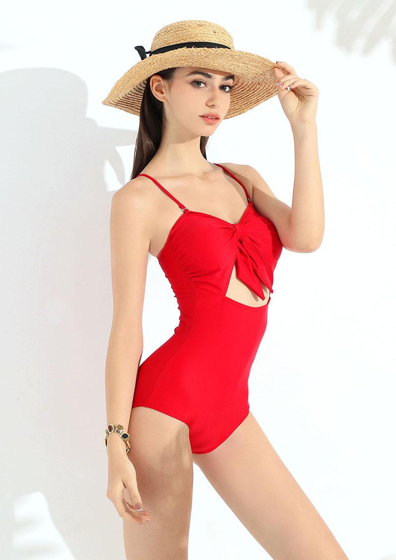 挖空綁帶可拆式肩帶連身泳裝-紅