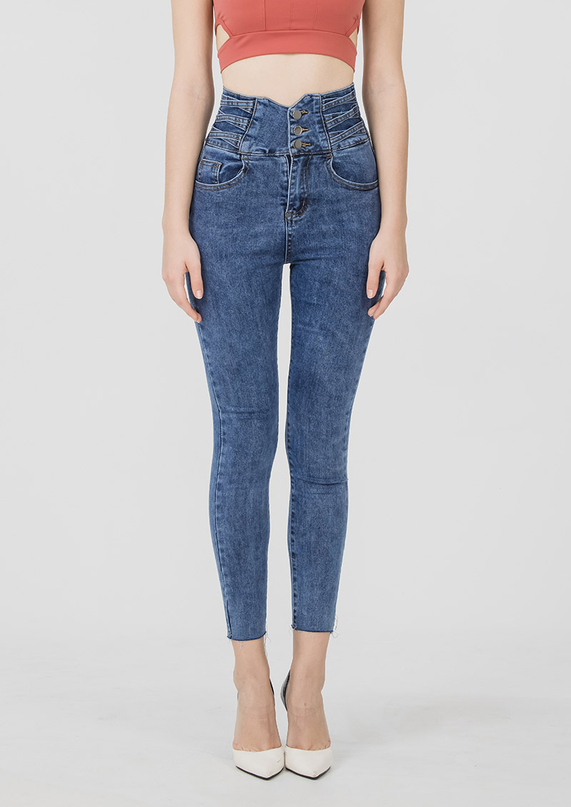 超模身段高腰排釦牛仔褲-深藍