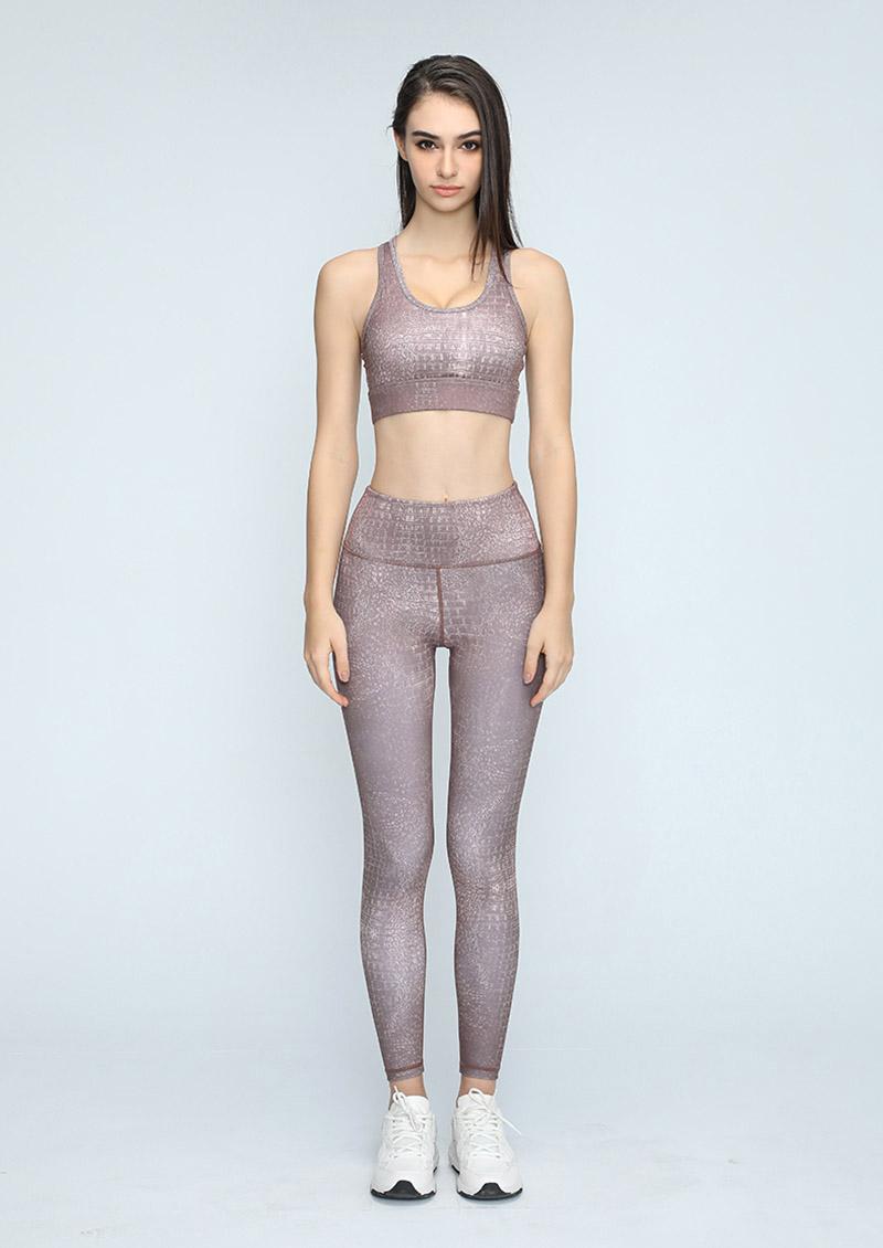 歐美時尚鱷魚紋瑜珈運動套裝