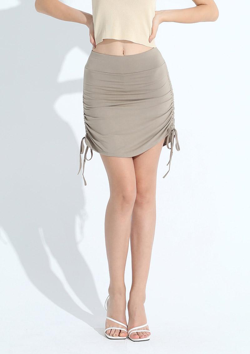 高腰提臀下擺抽繩打結褲裙3色