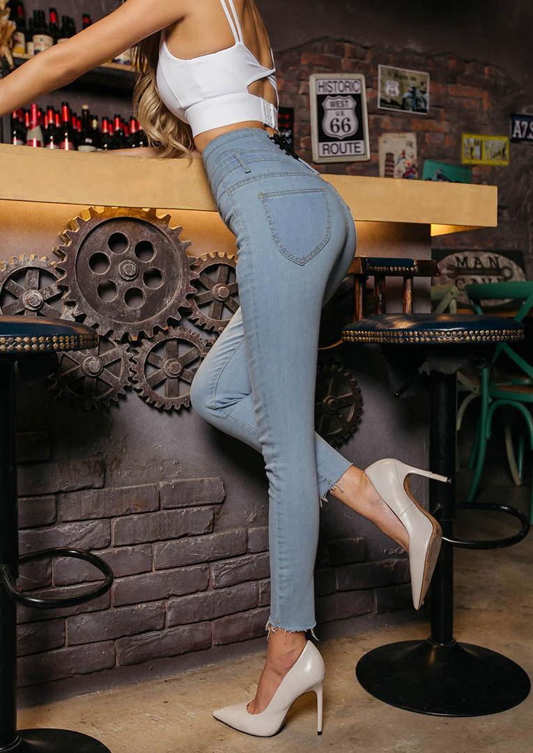 S'dare高腰排釦後綁帶造型窄管牛仔褲