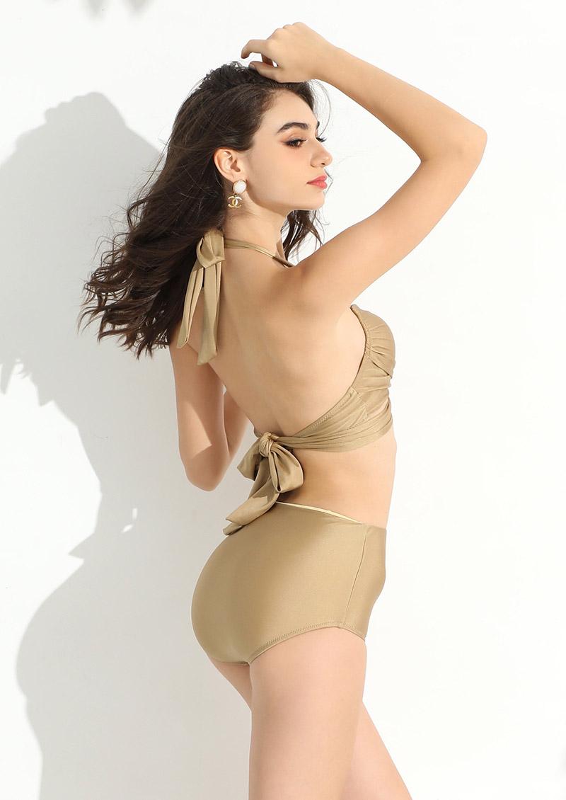 金色古典高腰抓皺交叉綁帶比基尼-香檳金