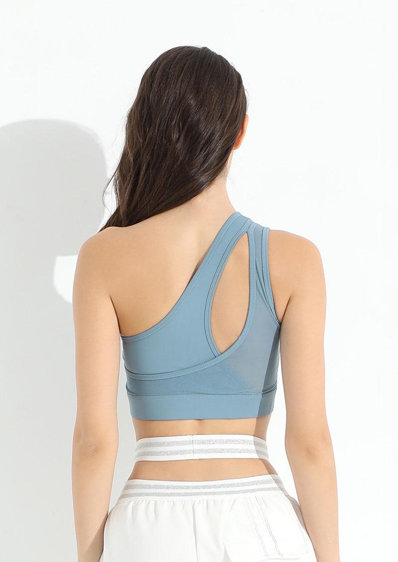 性感單斜肩網紗鏤空運動內衣