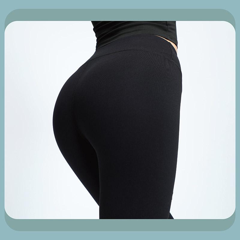Sdare 高腰不規則挖洞緊身運動褲-黑