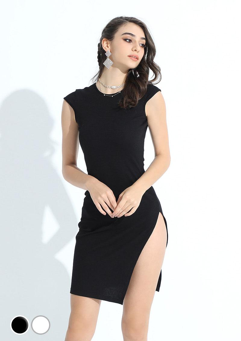 氣質修身性感曲線開高衩洋裝 2色