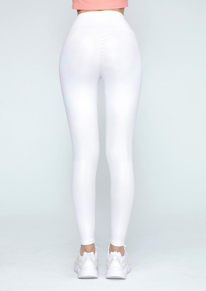 炫彩珠光白抓皺翹臀運動褲