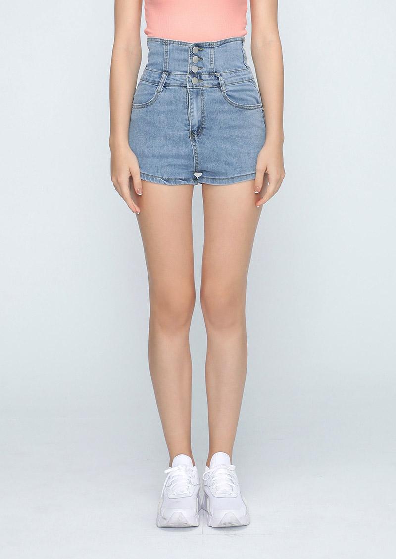 時尚嬌點高腰排釦牛仔短褲