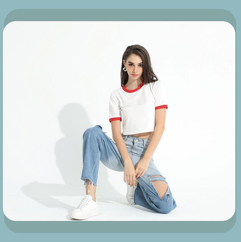 Sdare 學院風撞色滾邊圓領修身短版T-shirt4色