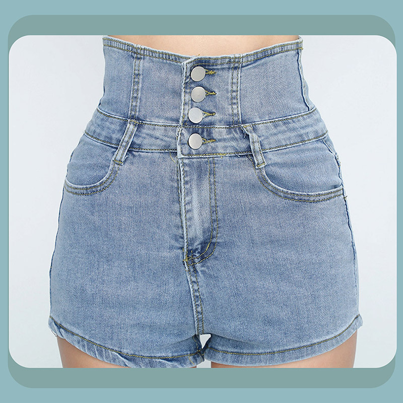 Sdare 時尚嬌點高腰排釦牛仔短褲