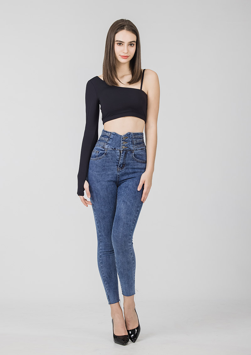 Sdare 超模身段高腰排釦牛仔褲-深藍