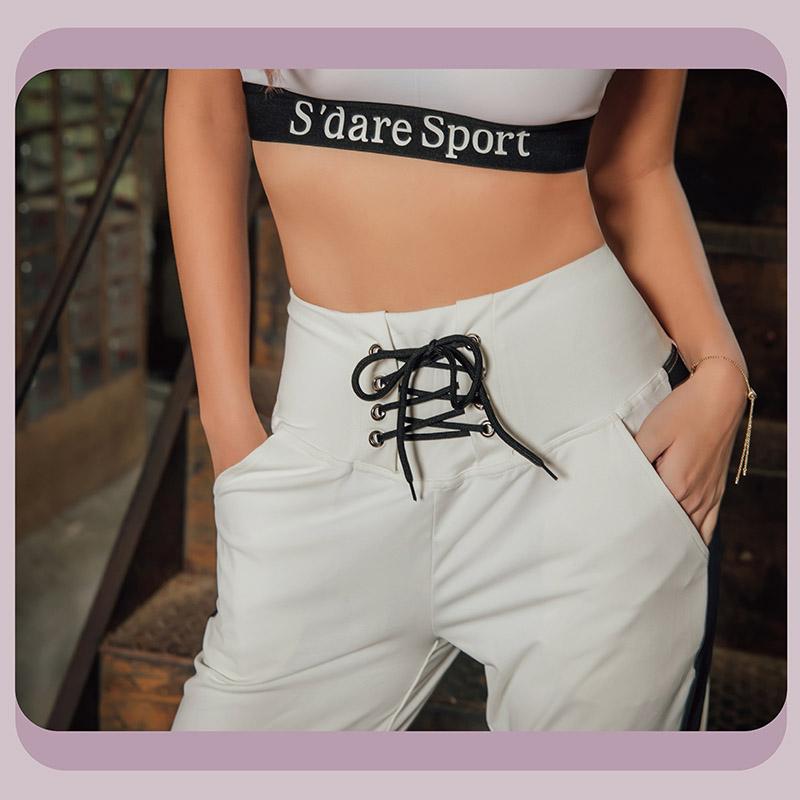 Sdare S'dare造型綁帶高腰顯瘦休閒褲
