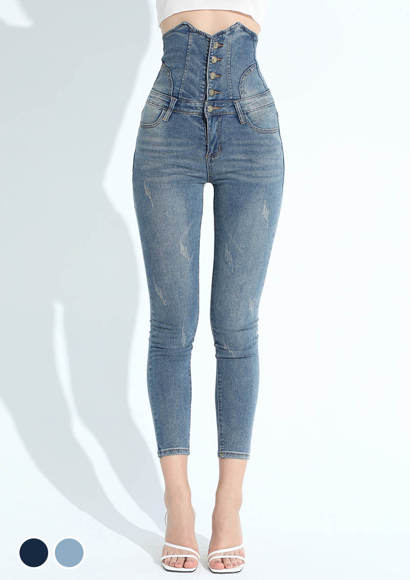 蔚藍海岸高腰排釦刷色牛仔褲