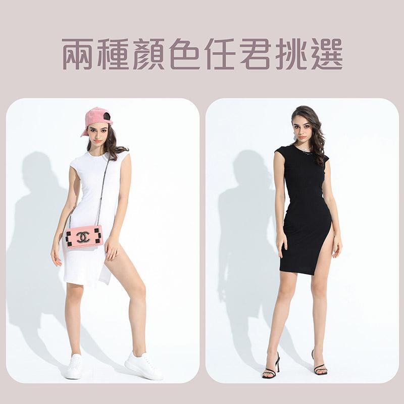 Sdare 氣質修身性感曲線開高衩洋裝 2色