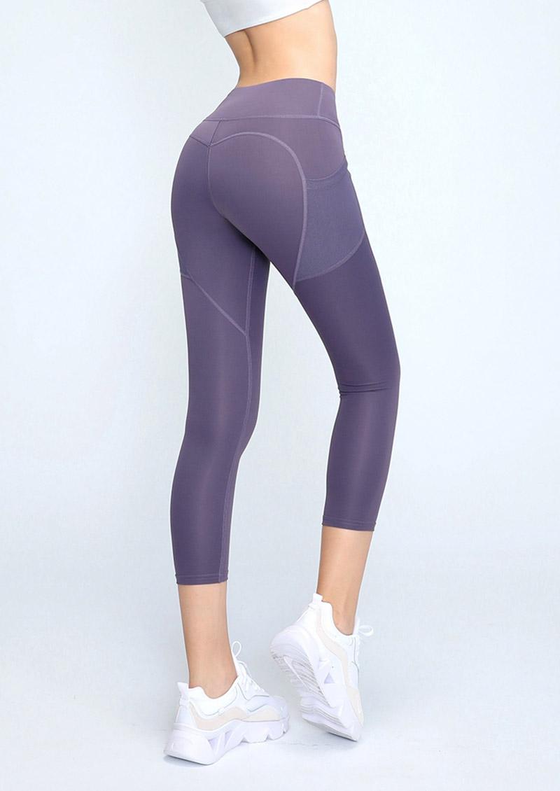 高腰收腹提臀口袋彈力緊身運動褲-醬紫